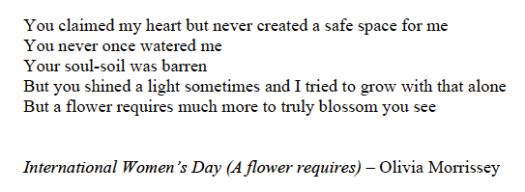 *International Women's Day (A flower requires)