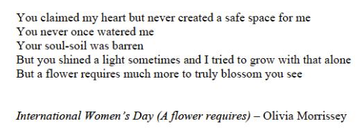 *International Women's Day (A flower requires)
