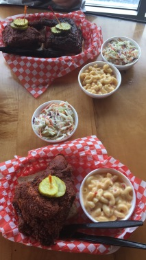 The famous Hattie B's hot chicken was to die for! A side of coleslaw helps cool the palette.
